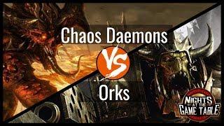 Kingslayer: Renegade Knights Chaos Daemons Vs. Morkanaut Orks 40K Battle Report