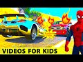 FUN SUPER SPORT CARS in Spiderman Cartoon for Kids and Nursery Rhymes Songs for Children