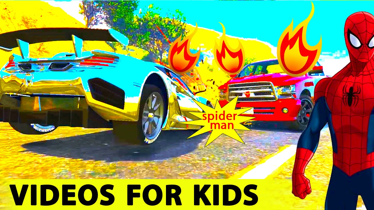 fun super sport cars in spiderman cartoon for kids and nursery