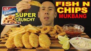 [MUKBANG] FISH N CHIPS+CRUNCHY CALAMARI RINGS-FRIED GOODNESS