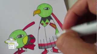 How to draw Pokemon: No.177 Xatu, No.178 Natuo