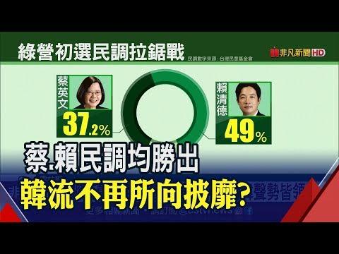 綠初選爭霸最新民調!賴清德支持度49% 大勝蔡總統37.2%∣非凡新聞∣20190519