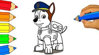 PAW PATROL 🔴 Coloring Pages - Drawing and colouring For Kids ► How to draw and colour chase