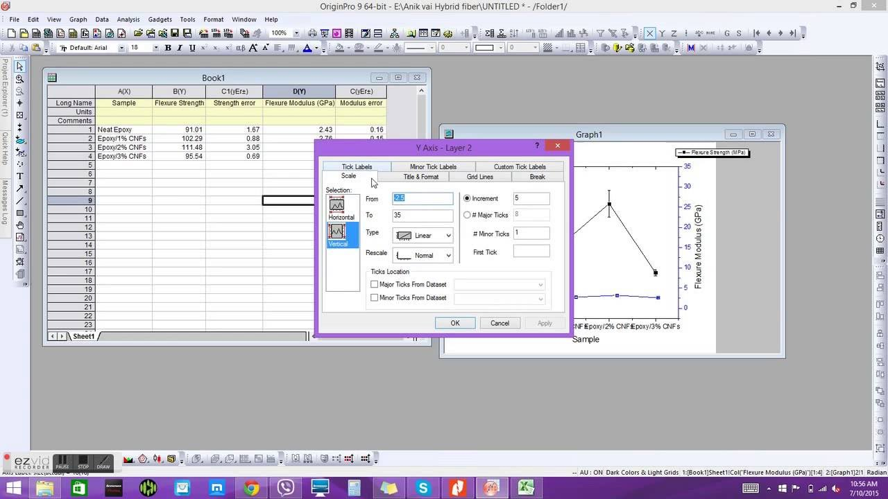 Origin pro 9 plotting double y axis bar graph tutorial youtube ccuart Images