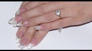 Наращивание ногтей на формы: Снежный дизайн.(Как нарастить ногти на формы. Для работы используем моделирующий гель. Не забудем по нежный дизайн. ===ЖМИ..., 2012-11-16T16:53:19.000Z)