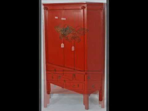 Antique Chinese Red Lacquered Wedding Cabinet Armoire _bk0009y.wmv - Antique Chinese Red Lacquered Wedding Cabinet Armoire _bk0009y.wmv