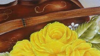 Aula completa. Como pintar violino,rosa amarela e folhas