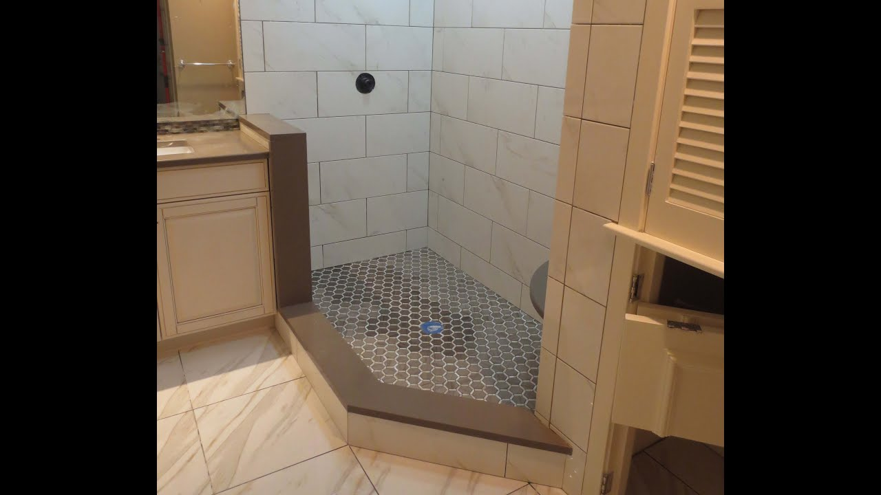 How to build a tiled shower tub - Complete Large Format Tile Shower Install Part 1 Through 7