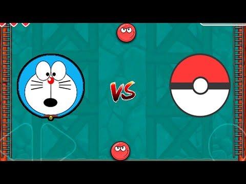 DORAEMON vs POKEMON RED BALL 4 CAVE HOLES FIGHT SUPER CARTOON GAME