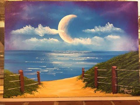 "#104. How To Paint A Moon Over The Ocean ""Moon Walk"" (Acrylic)"
