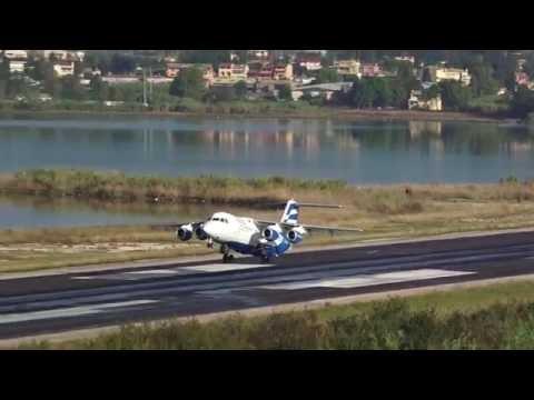 SX-EMI Ellinair British Aerospace Avro RJ85, Corfu Airport (CFU), with Live ATC [1080p]