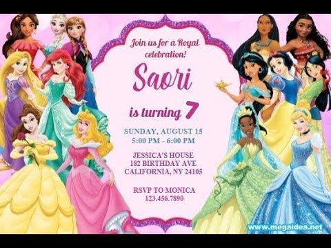 disney princess birthday invitations editable instant download free digital