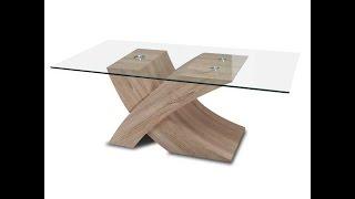 Mesas de centro: Mesas de madera con cristal.