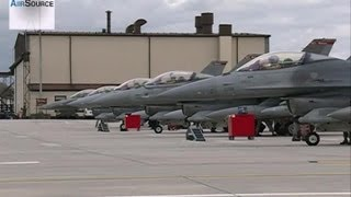 F-16 Landings, Taxiing - 480th Pilots Return Home (2013)