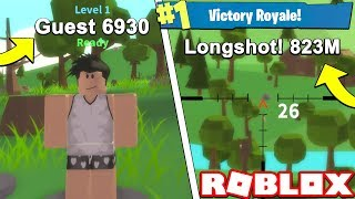 823m SNIPE als REAL ROBLOX GUEST!! (Roblox Fortnite Island Royal)