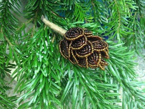 Видео МК Шишка из бисера. Beaded fir cones. Наряжем елку. DIY Очень легко