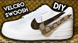 how to interchangeable designer velcro swoosh custom on air force 1s