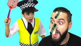 police and fly , pretend play funny videos for kids, les boys tv