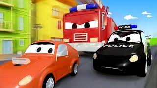 Der Streifenwagen in Autopolis -  Franks Geburtstagsparty - Autopolis 🚒 Cartoons für Kinder 🚓
