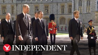 William and Harry walk behind Duke of Edinburgh's coffin