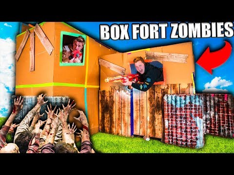 TWO STORY BOX FORT ZOMBIES BASE  24 HOUR Zombies Survival Challenge