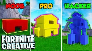 Base secreta do Fortnite! -NOOB vs PRO vs HACKER (modo criativo)