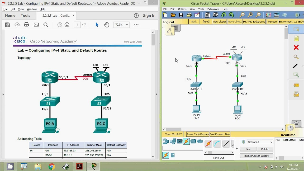2 2 2 5 Lab - Configuring IPv4 Static and Default Routes