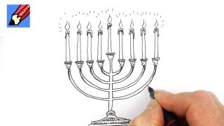 How to Draw a Hanukkah Menorah Real Easy