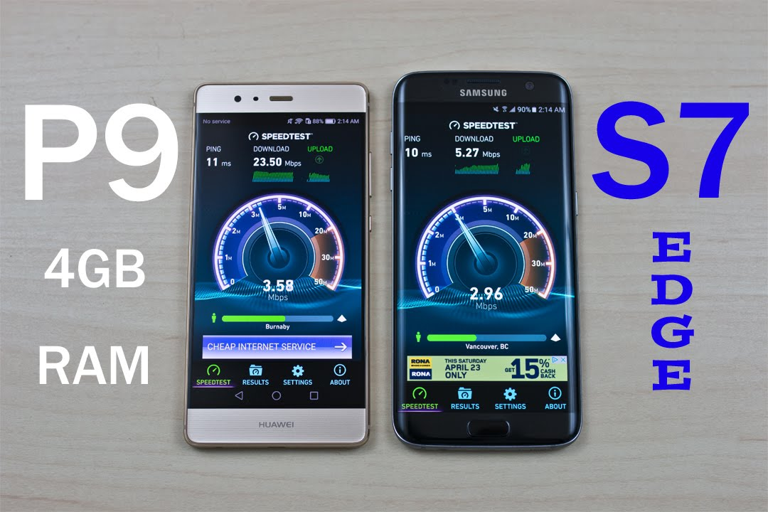 huawei p9 4gb ram vs samsung galaxy s7 edge exynos speed test comparison review youtube. Black Bedroom Furniture Sets. Home Design Ideas