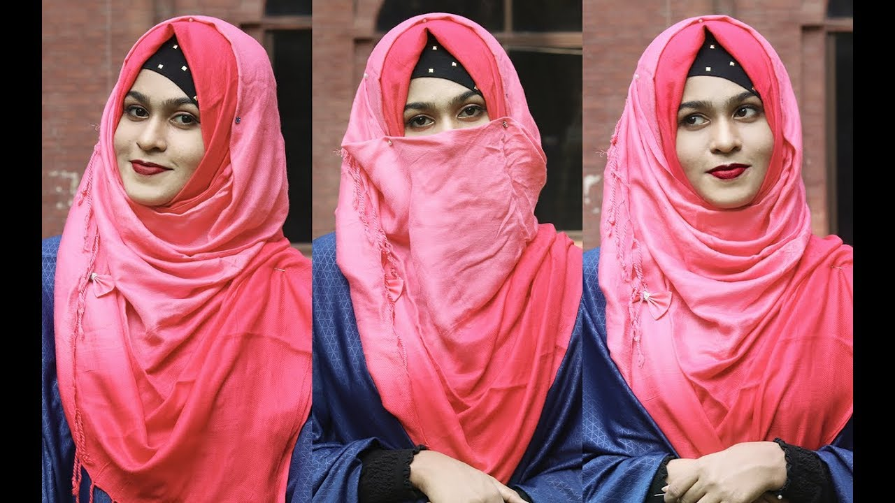 No Layer Winter Hijab Style With Full Coverage Pashmina Hijab With Niqab Without Niqab