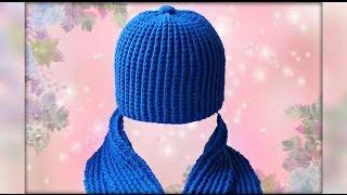 Шапка крючком для начинающих. Crochet hat.