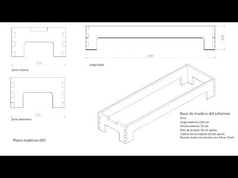Planos de corte de madera y de la Base del Reformer PIlates