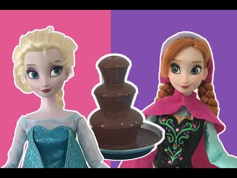 Chocolate Fountain Jello Pool Cheese Balls Challenges! Frozen Challenges! Elsa and Anna Challenges