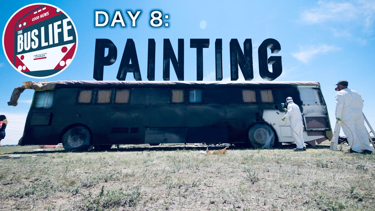 Bus Conversion Painting in a Storm | The Bus Life