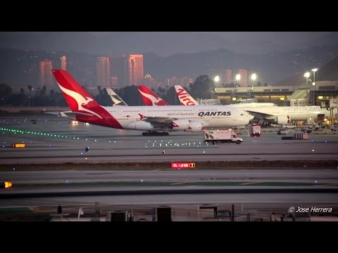 Airplane Action at LAX 1 Hour Long  Early Morning Video Spec