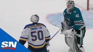 Jordan Binnington Goes After Multiple Sharks' Players Including Dubnyk After Being Pulled From Game