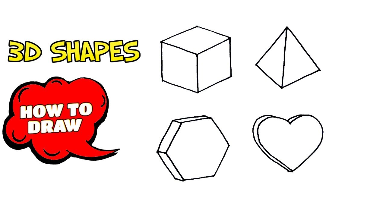 How To Draw 3d Shapes For Kids Step By Step Sketch Of 3d Shapes Youtube