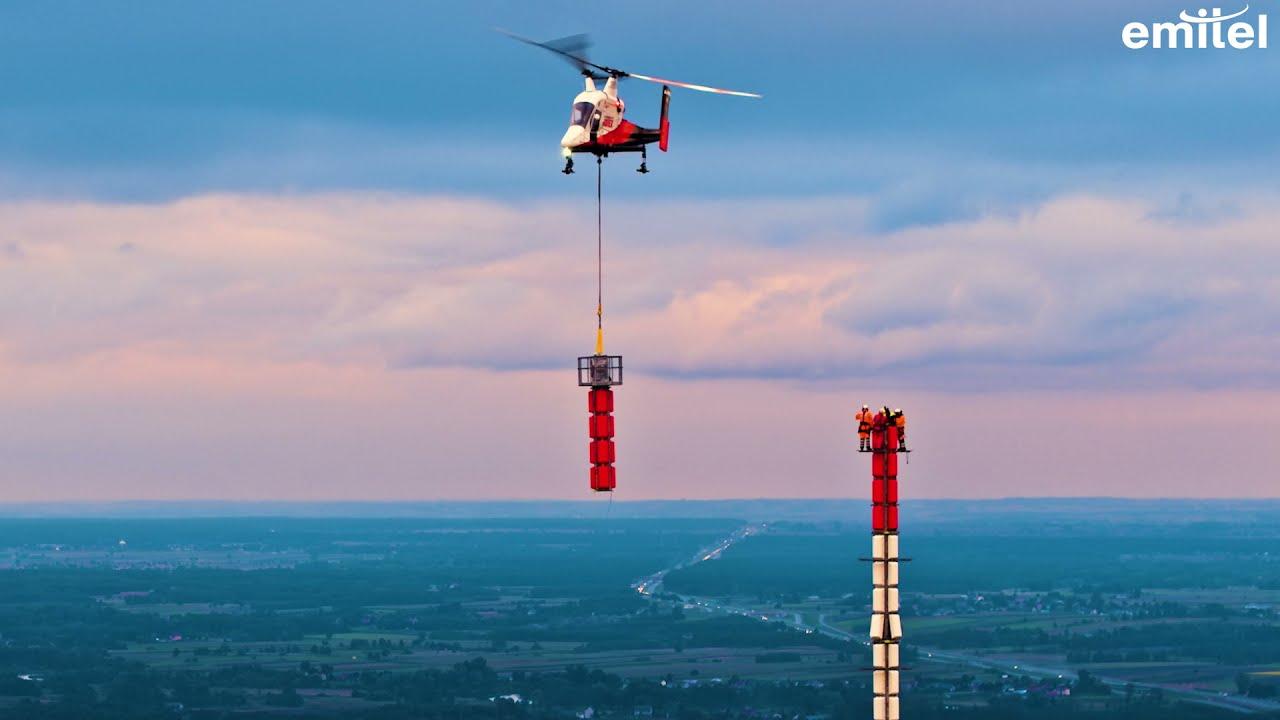 Wymiana anten na maszcie w Rykach EMITEL & POLAND ON AIR by Maciej Margas & Aleksandra Łogusz