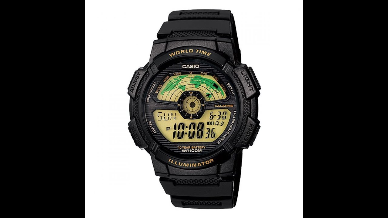 989aa7542ca RELÓGIO CASIO ORIGINAL JAPONES STANDARD WORLD TIME MAP AE-1100W-1B ...