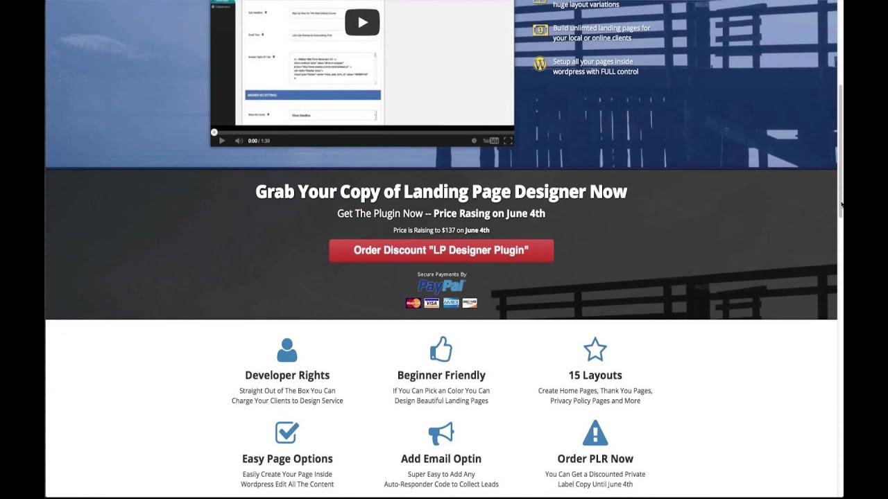 video landing page wordpress