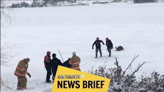 Deer rescued from frozen lake