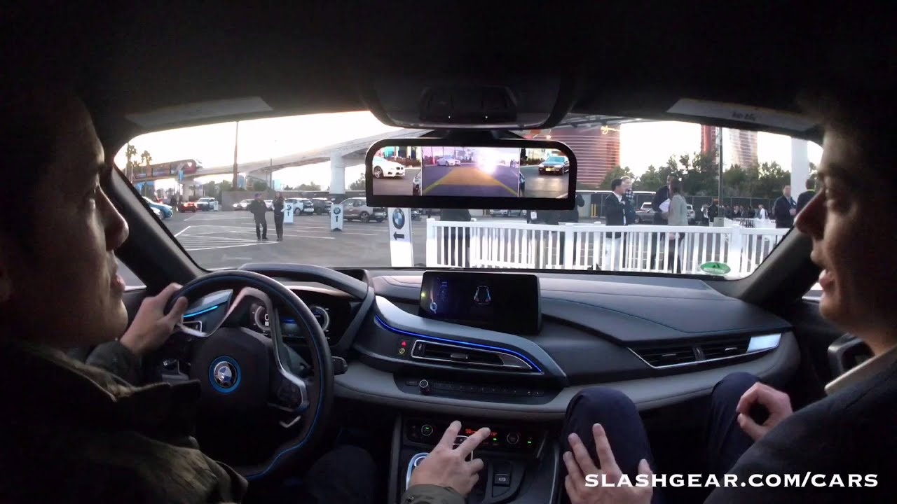 Bmw I8 Red >> CES 2016 test drive: BMW i8 rearview mirrorless concept! - YouTube