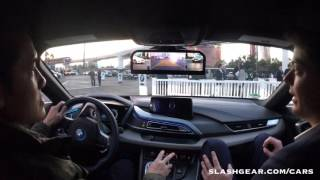 CES 2016 test drive: BMW i8 rearview mirrorless concept!