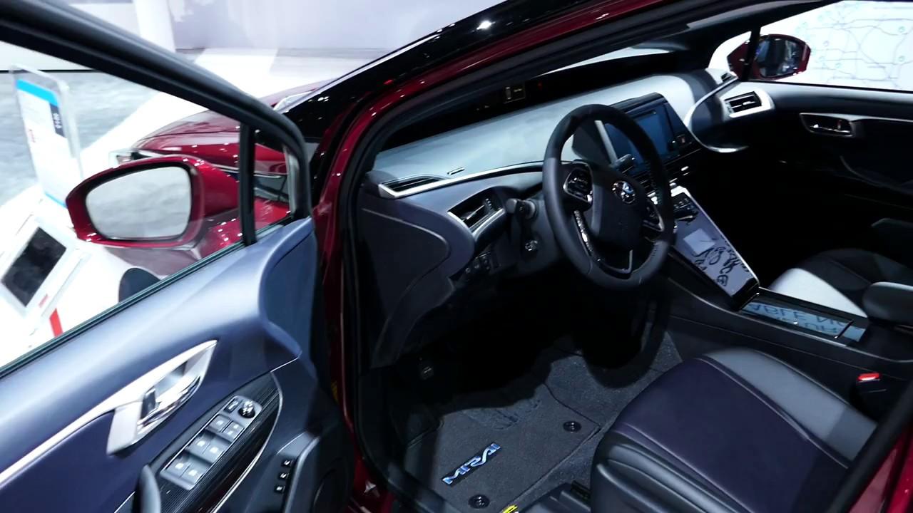 new 2018 toyota mirai hydrogen fuel cell car interior tour 2017 la auto show youtube. Black Bedroom Furniture Sets. Home Design Ideas