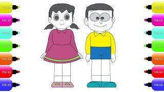 Nobita and Shizuka  Smart Face Drawing and Coloring - nobita cartoon For Kids