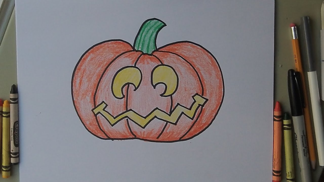 how to draw a halloween jack o lantern pumpkin easy drawing tutorial lesson for kids youtube - Easy Halloween Drawings For Kids
