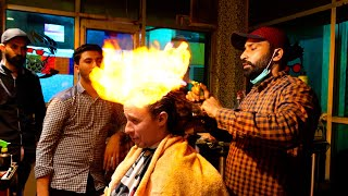 Me corté el cabello con FUEGO en Pakistán 🔥💇🏽♂️