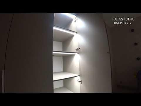Шкаф с Подсветкой в прихожую . Фасады ДСП CLEAF . BLUM фурнитура . IDEASTUDIO Dnepr Kiev