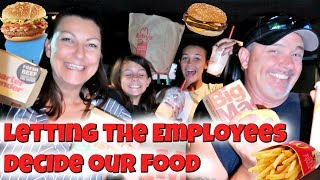 Letting Fast Food Employee DECIDE What We eat for 24 HOURS! | Emma and Ellie