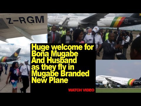 Huge welcome for Bona Mugabe And Simba Chikore fly in Mugabe Branded New Zimbabwe Airways plane